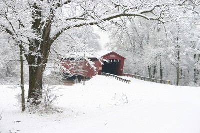 Covered bridge in winter white