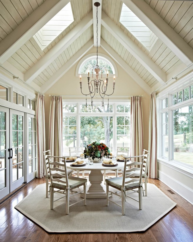 Bright-Ladder-Back-Chairs-technique-Charlotte-Traditional-Dining-Room-Inspiration-with-arched-window-cathedral-ceiling-chandelier-curtain-panels-fanlight-flat-weave-rug-ladder-back-chairs