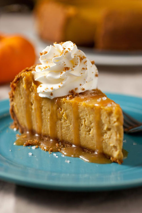 pumpkin-cheesecake-with-salted-caramel-sauce